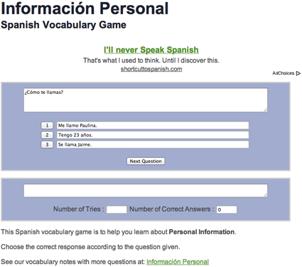 Spanish course questions