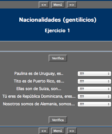 Spanish course nationalities