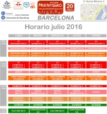 Escuela Mediterraneo Barcelona Spanish courses schedule, horario july 2016